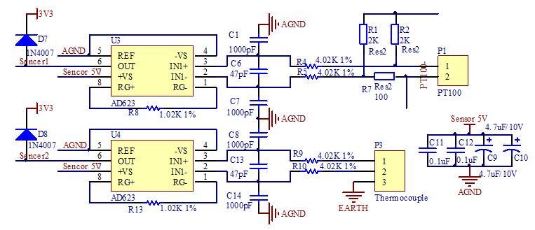 pcb原理图,这个模块的工作原理,我只知道这是用pt100采集温度的,但是图片