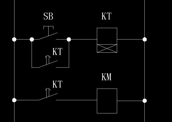 中间继电器加一个点动开关,控制一个电机通电10秒后断电的实物接线图?