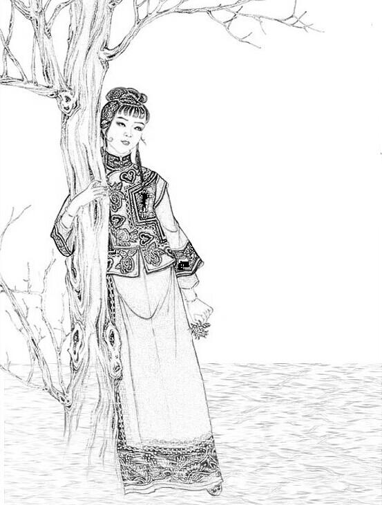 手绘素描图片雨中人,还有一颗树