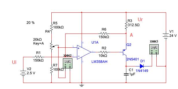 输出电流等于ur除以r3,当输入0~5v时,r3电压变化为(0~5)*(r6/r1)