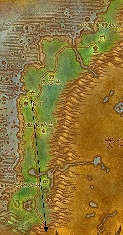 从奥伯丁沿路一直往地图下方走就好了,黑海岸和灰谷是连在一起的.