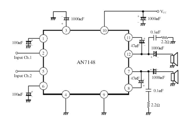 1w音频功率放大器集成电路,常用于收录机功放电路和电视伴音电路,具有