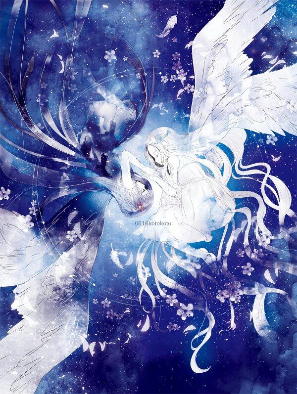 求手绘黑白两边对比天使与恶魔图.