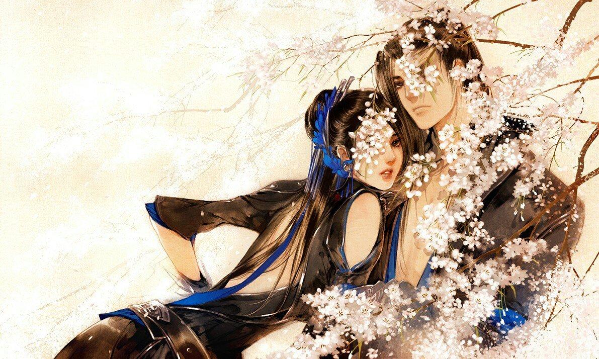 求一张古风手绘图,一个白衣男子在弹琴或下棋,背景是开在树上的花,不