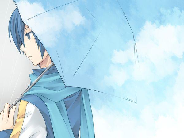 寻一头像,动漫人物,男的拿着雨伞向着右前方顶着,前方