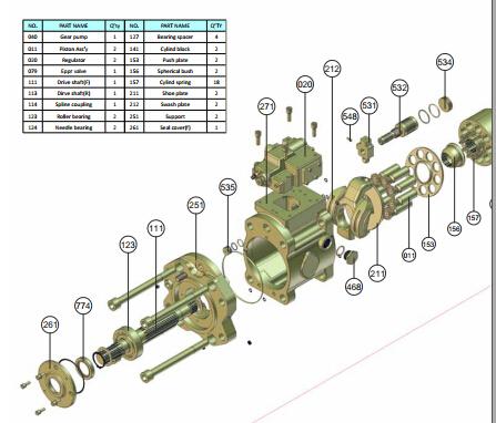 斗山22o-7液压泵维修分解图图片