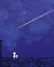 找一张图片,猫站在电线上看月亮星星的动漫风的图图片