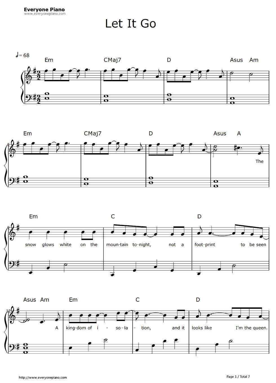 《let it go》钢琴谱里最简单的一个谱子了,对于钢琴六级水平来说