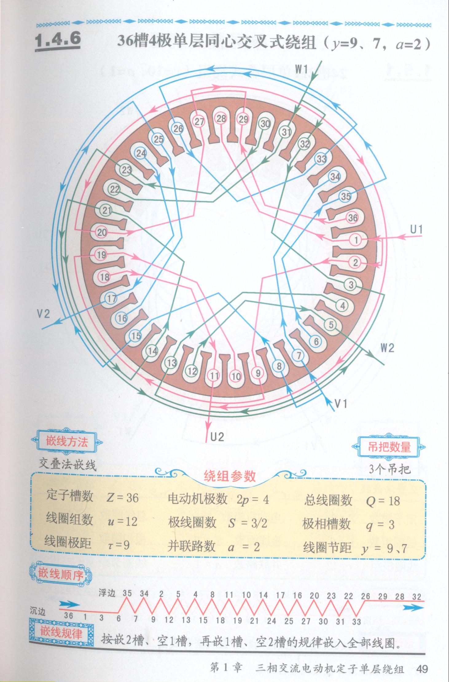 三相电机4级36槽单层交叉绕组2路怎么接线.知道说一下