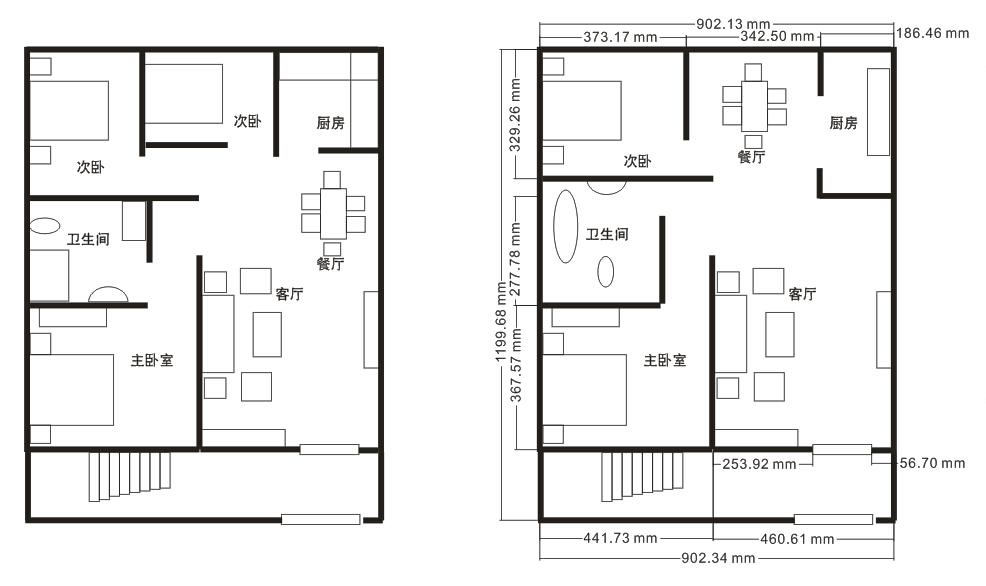 求一张房屋设计图100平方左右图片