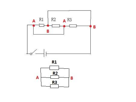 如图所示 等效电路图可看成r1 r2 r3 并联
