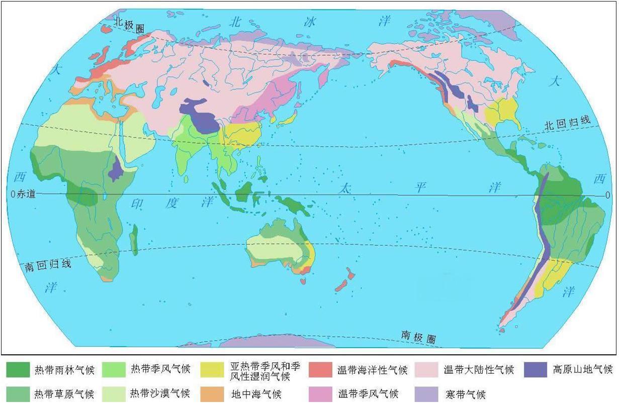 这是一幅世界政区图.不同的颜色代表不同的国家.图片