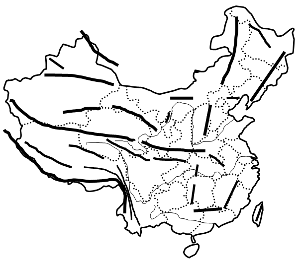 求中国地形空白图,有山脉,河流可以填的