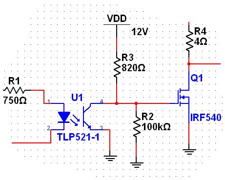 求单片机pwm通过光耦驱动mos管的电路.图片