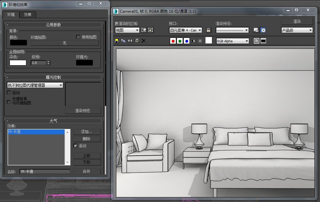 3dmax 黑白线框是怎么渲染出来的