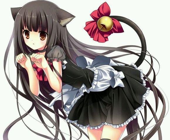可爱的二次元长着猫耳朵猫尾巴的女生图片