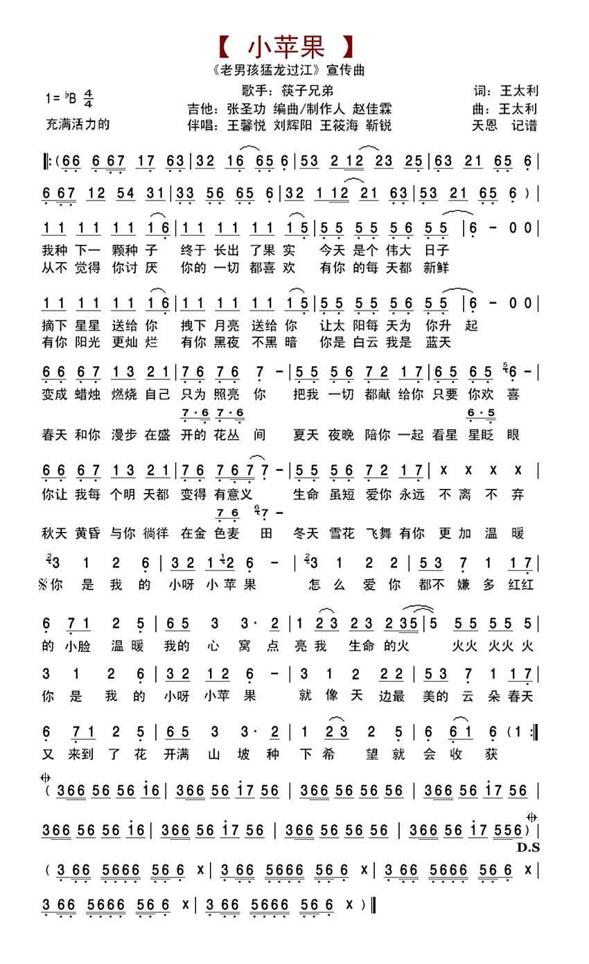 筷子兄弟《小苹果》电子琴曲谱图片