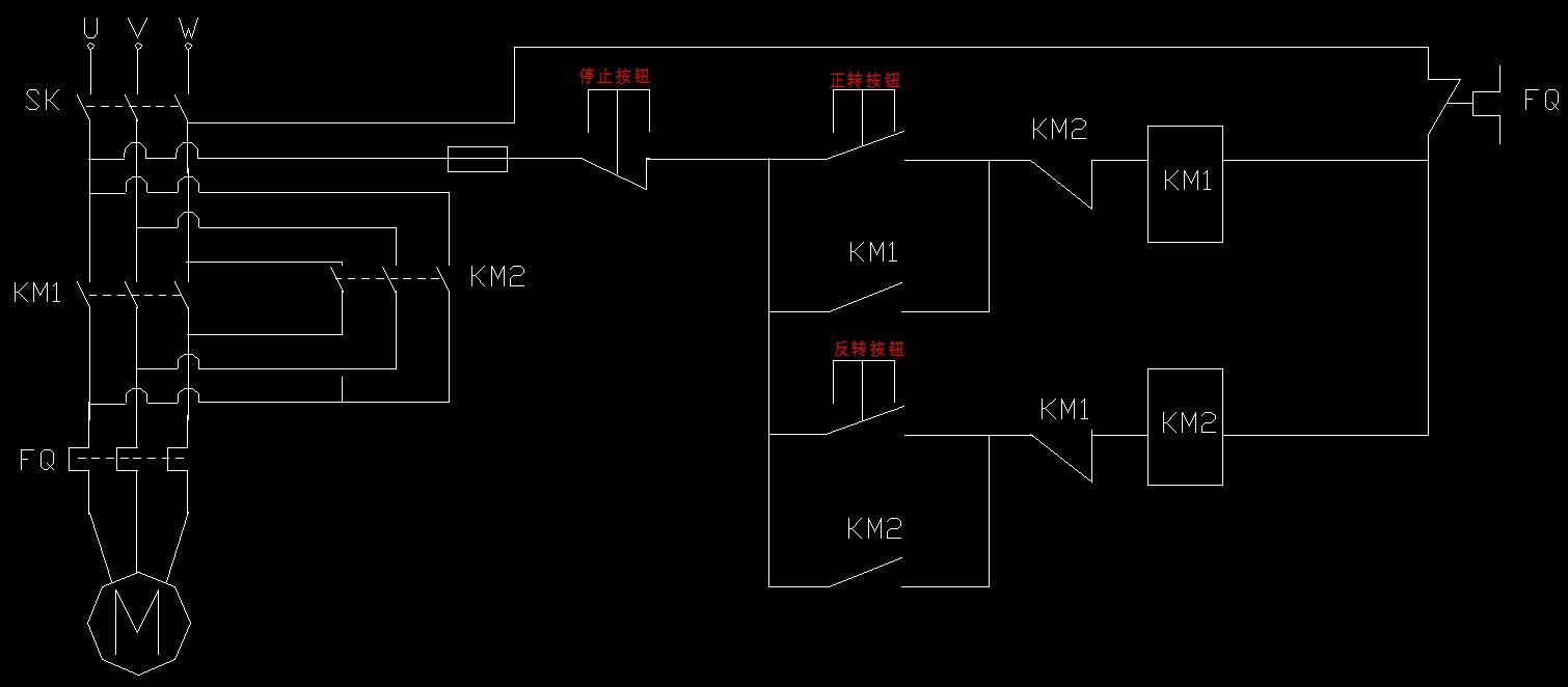 设计一个简单的电动葫芦控制电路,要求起重电动机m受启动正传,反转