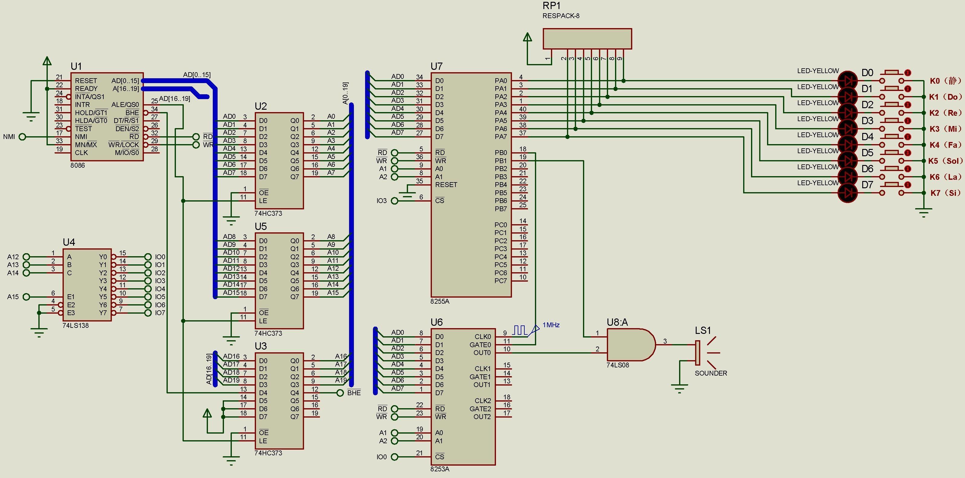 以下用proteus中的8255,8253仿真简易电子琴的程序和接线哪里有错?