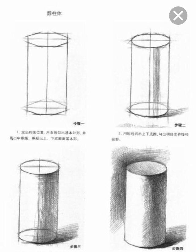 怎么画圆柱圆锥和圆型的素描图片