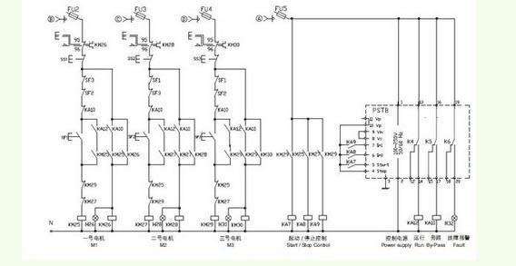第二张图为控制回路接线图,控制要求从原理图可知: 当一台电动机启动