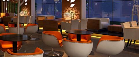 咖啡馆一角3d效果图或者手绘图2张