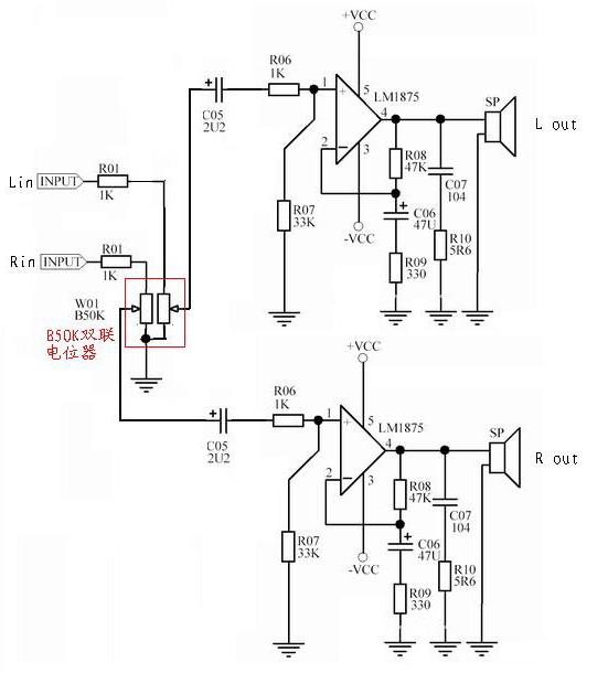 怎么用lm1875弄双声道功放电路?