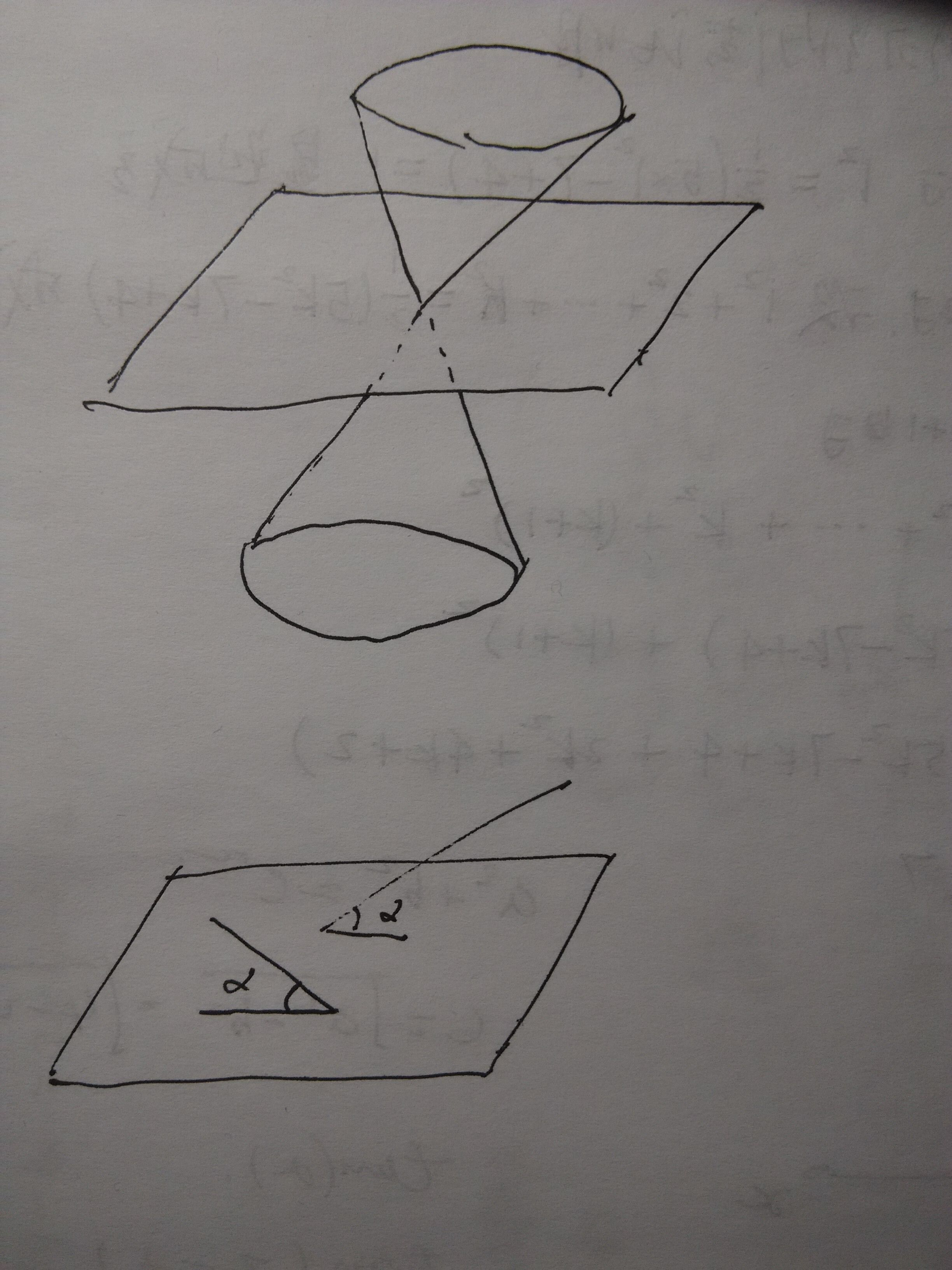 过一点与某一平面成相同角度的直线就有无数条,他们的集合组成了两个图片