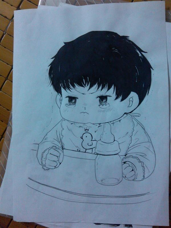 可爱的 动漫人物的素描画和手绘画