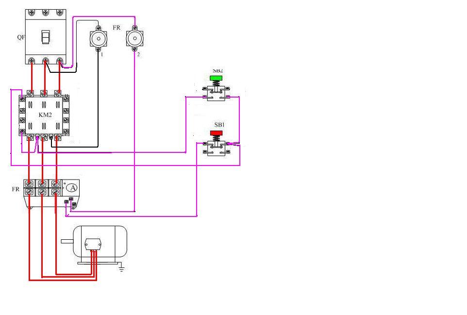 交流接触器实物接线.我给图