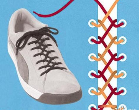 板鞋系鞋带方法图解如下