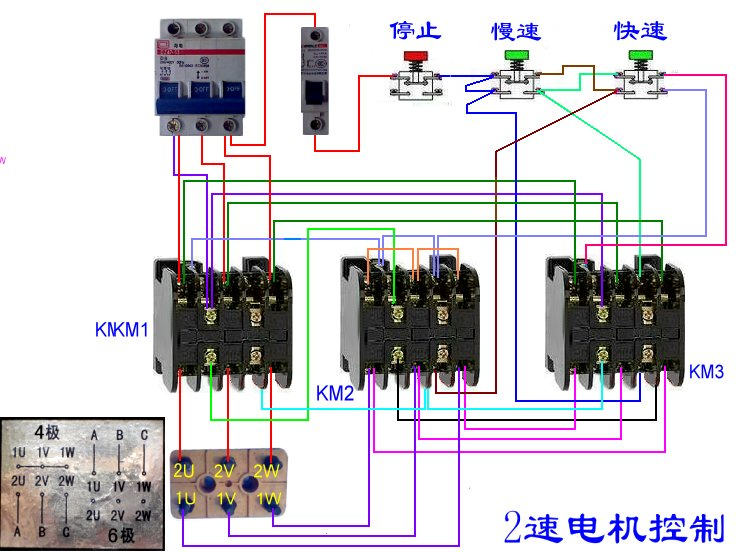 双速交流异步电动机变速控制电路实物图怎样接?请高手