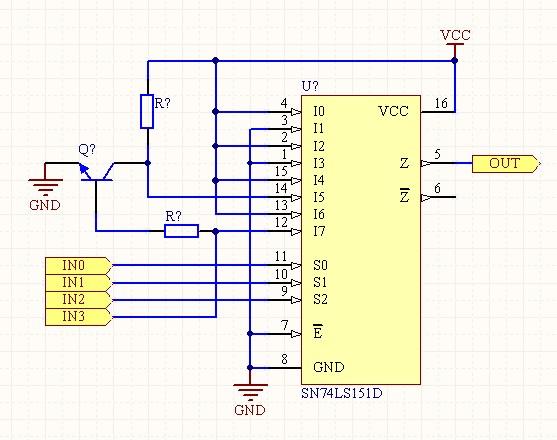 利用74ls151设计一个组合逻辑电路,输入为4位二进制数