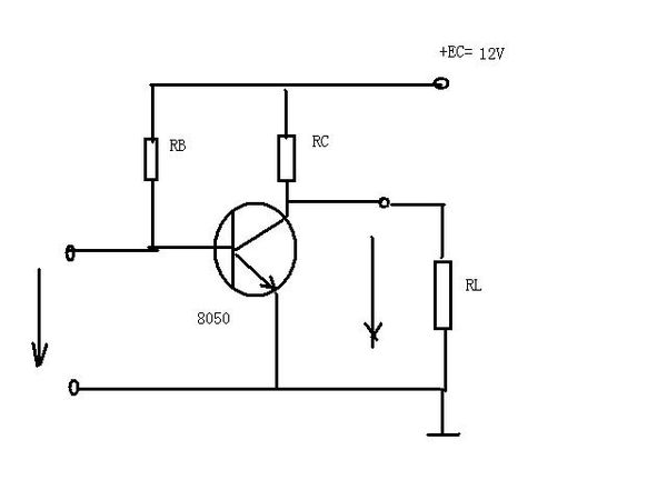电路如图,三极管8050,rb用150k电位器代替可以调整阻值,rc=3k,三极管