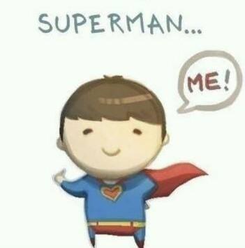 求一个情侣头像,男的那个有个卡通的小超人小男孩,写着superman me.