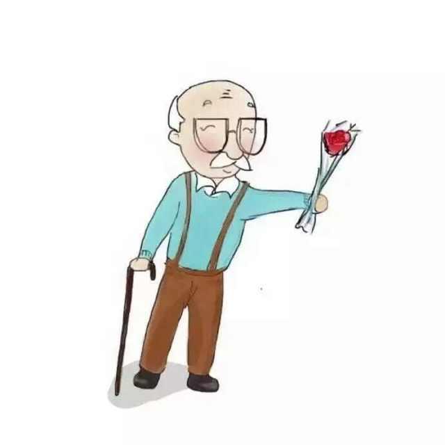 一对卡通老头老太太头像手拿玫瑰和拐杖