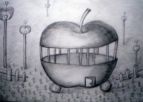 设计素描  苹果的故事>>怎么画呀图片