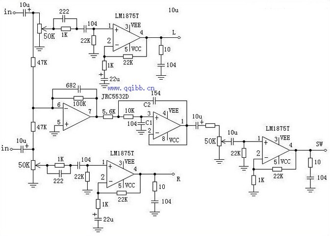 在你的电路图中好像没有低频滤波.典型的二阶低通电路如图