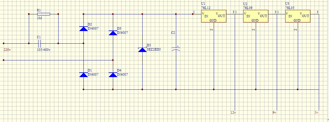 新人画的220v转12v,9v,5v,电路图,求指点,说原理