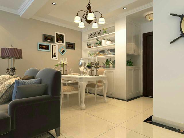 进户门右手边是到顶的白色浮雕纹理鞋柜和连体转角酒柜,左手边是厨房图片