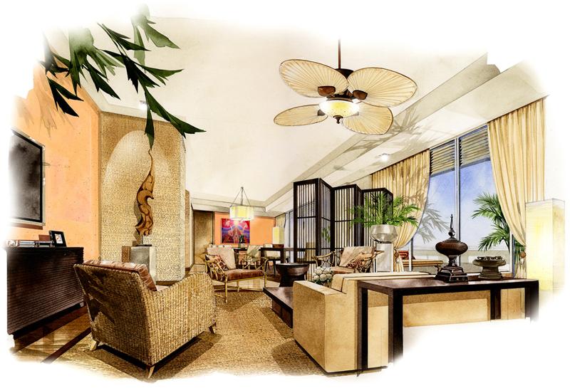 室内设计水彩效果图 我想知道这个图是那个酒店的设计