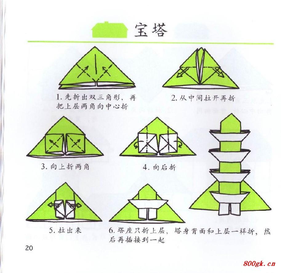 谁知道折纸宝塔怎么折吗?