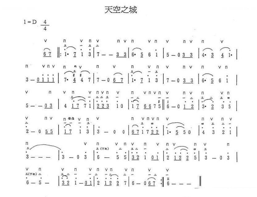 《天空之城》的竖笛乐谱如下:  本回答由娱乐休闲分类达人 11推荐