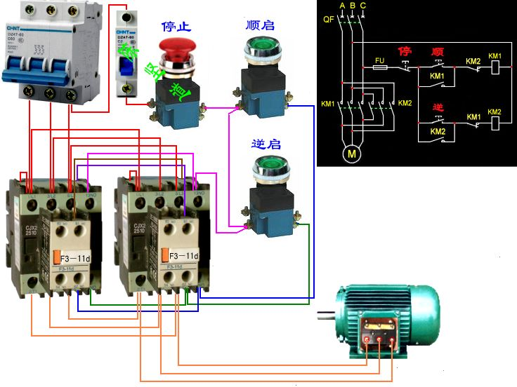 cjx2一1210三相交流接触器2个,安在弯曲机上正反两用有点触开,接线
