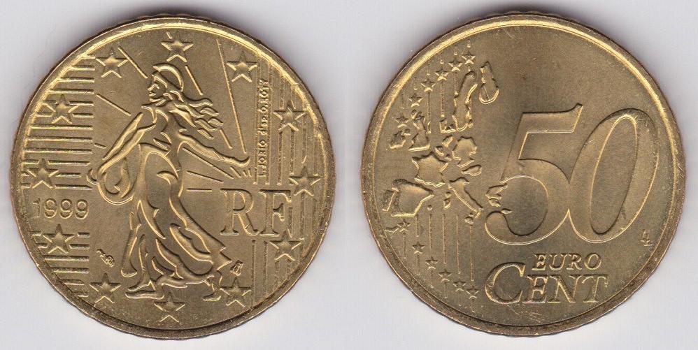 图示是法国的50欧分硬币,可以对比一下图片
