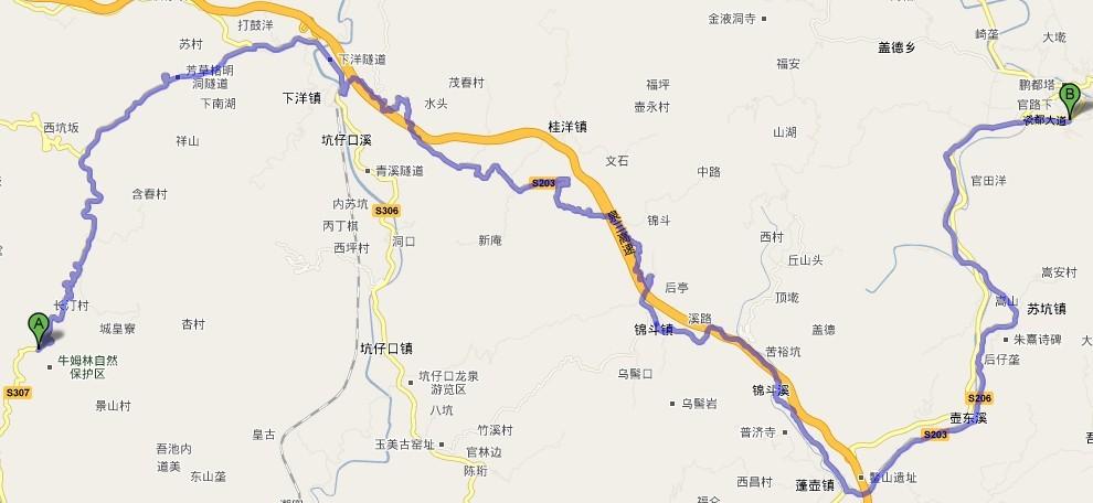 """cn  然后输入""""福建省泉州市永春县牛姆林自然保护区"""",再搜索地图.图片"""