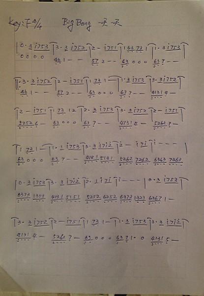 帮忙翻译bigbang一天一天的钢琴谱转为简谱 ,拜托了.