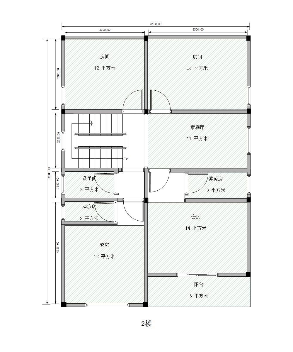 准备在农村建2层半的房子,8x12米,自己设计好了平面图图片