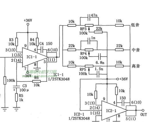 双电源为 12v,地,-12v.