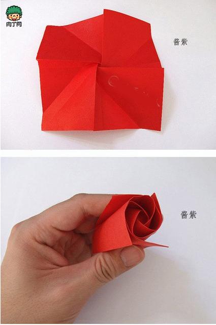 如何diy最简单叠纸玫瑰花方法图解